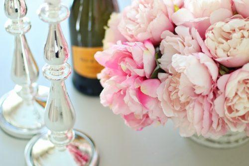シャンパン、花束
